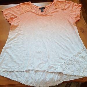 Orange/white color fade style& co xl top